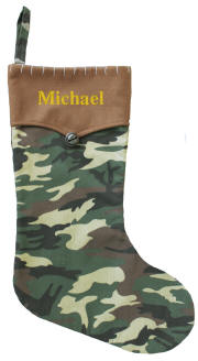 Brown Cuff Camo Christmas Stocking