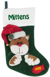 Cat with Santa Hat Personalized Christmas Stocking