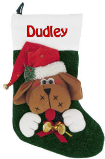 Dog with Bells Personalized Christmas Stocking