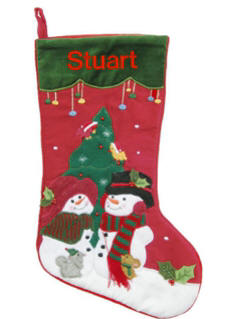 Snowmen by the Tree Christmas Stocking
