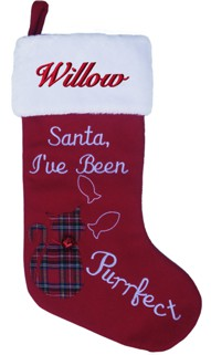 Santa I've Been Purrfect Cat Christmas Stocking