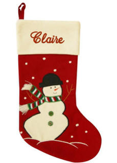 Personalized Christmas Stockings | Snowman Red Wool Holiday Stockings