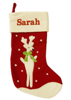 Reindeer Red Wool Christmas Stocking