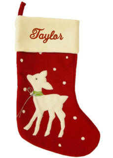 Baby Reindeer Red Christmas Stocking