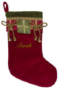 Red Gifts Stocking with Jingle Bells