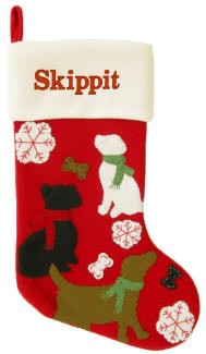 Dogs in Snow Red Felt Christmas Stocking