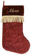Burgundy / Red Gold Tassel Christmas Stocking