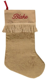 Old Gold Trimmed Gold Tassel Christmas Stocking