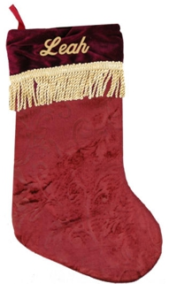 Burgundy Gold / Gold Tassels  Christmas Stocking