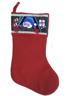 Snowman Top Velvet Christmas Stocking