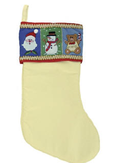 Monogrammed Plush White Christmas Stocking