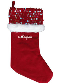 Red With Sequins Christmas Stocking