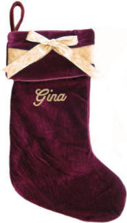 Burgundy Velvet with Bow Christmas Stocking