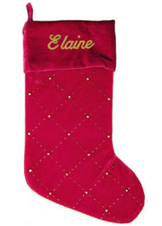 Red Beaded Christmas Stocking