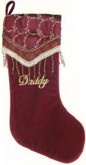 Burgundy Taffeta Beaded Christmas Stocking
