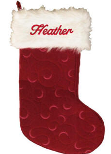 White Fur and Red Swirls Christmas Stocking