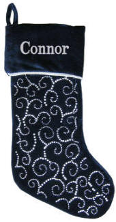 Navy Swirls Christmas Stocking