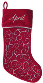 Red Swirls  Christmas Stocking