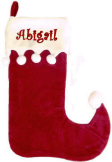 Red & White  Jester  Christmas Stocking