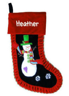 Green Hat Snowman Christmas Stocking