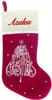 Merry Christmas Tree Burgundy Christmas Stocking