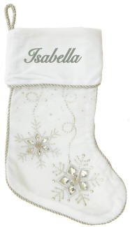 White Jeweled Stocking