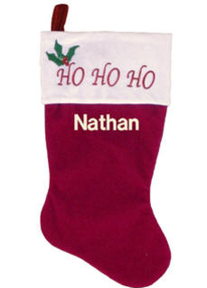 Ho Ho Ho Embroidered Stocking