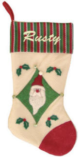 Santa Applique Christmas Stocking