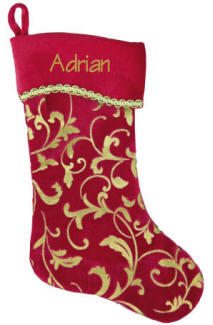 Gold Etched Christmas Stocking