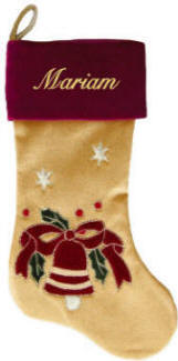 Bell and Holly Personalized Christmas Stocking