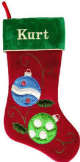 Blue & Green Ornament Christmas Stocking