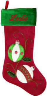 Red/Green Velvet with Ornaments Applique
