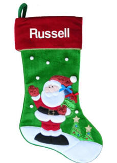 Waving Santa Personalized Christmas Stocking