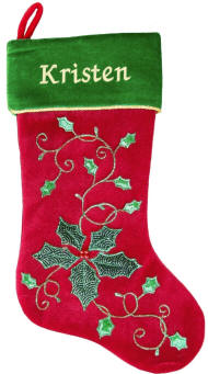 Holly Leaves and Berries Christmas Stocking