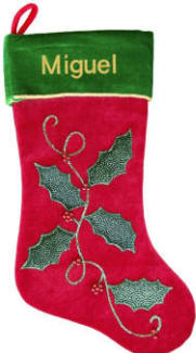 Holly Leaves on  Vine Christmas Stocking