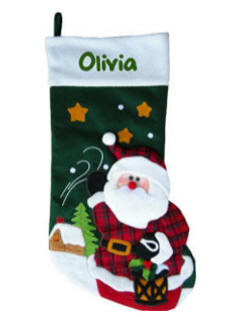 Personalized Plaid Santa 3D Christmas Stocking