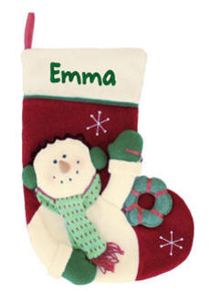 Personalized Christmas Stockings | Snowman Embroidered Christmas Stockings