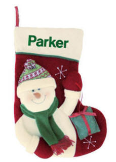 Snowman with Gift Christmas Stocking
