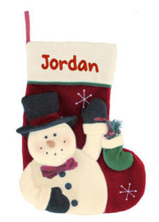 Snowman with Christmas Stocking