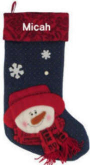 Navy Stocking with Red Hat Snowman