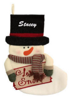 Plush Snowman Stocking Sign