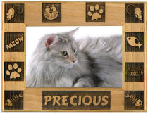 Personalized Wood Cat Photo Frame