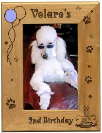 Personalized Wood Dog Birthday Hardwod Frame