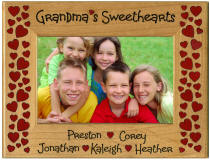 Personalized Wood Mom or Grandma Sweethearts Frame