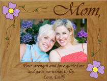 Personalized Strength & Love Mom Flower Photo Frame