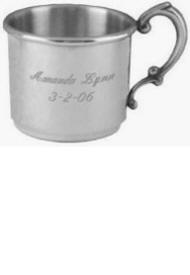 English Classic Engraved Pewter Baby Cup