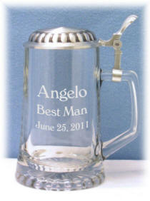 Personalized Flat Lid Glass and Pewter Stein