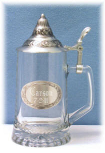 Personalized Conical Lid Glass and Pewter Stein
