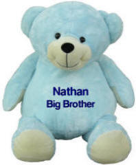 Large Personalized Embroidered Blue Bear