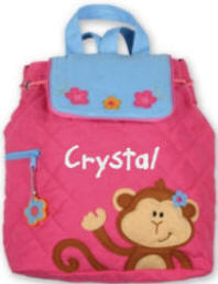 Pink Monkey Quilted Backpack